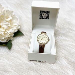 NEW Anne Klein Brown Leather Gold Watch